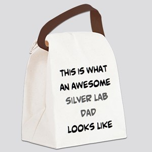 awesome silver lab dad Canvas Lunch Bag