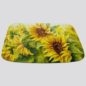 Sunflowers Oil Painting Bathmat