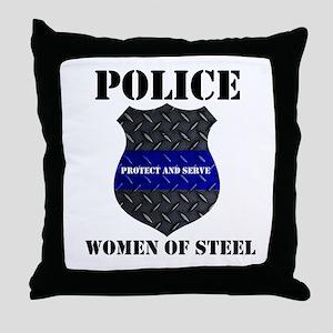 Police Women Of Steel Badge Throw Pillow