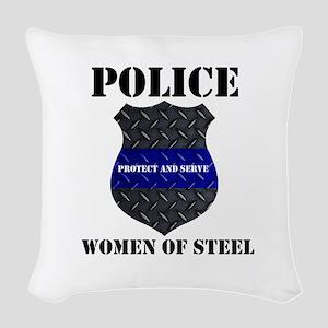 Police Women Of Steel Badge Woven Throw Pillow