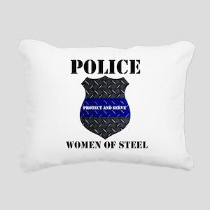 Police Women Of Steel Badge Rectangular Canvas Pil