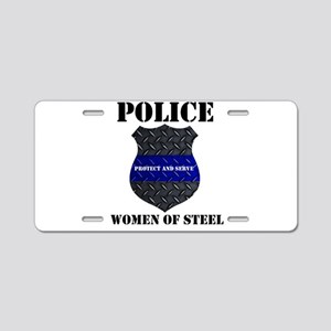 Police Women Of Steel Badge Aluminum License Plate