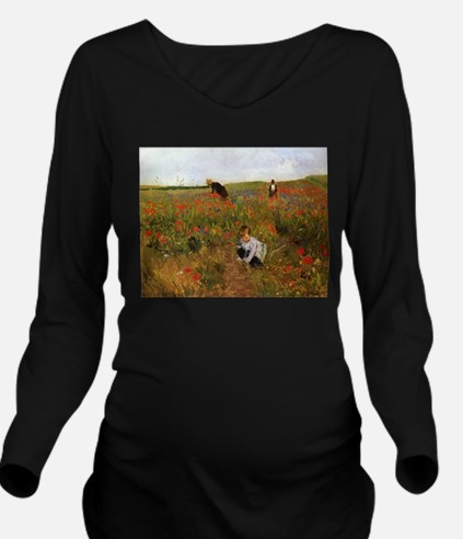 Poppies In The Field Long Sleeve Maternity T-Shirt