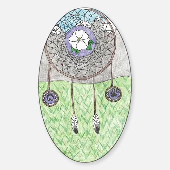 Cherokee Rose Dream Catcher Sticker (Oval)