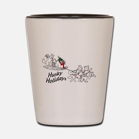 Husky Holidays Shot Glass