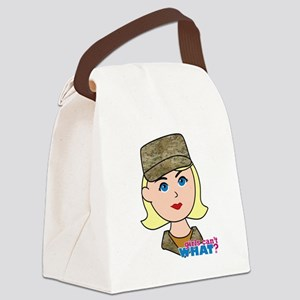Air Force Camo Head Blonde Canvas Lunch Bag