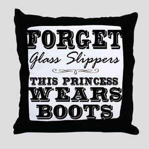 This Princess Wears Boots! Throw Pillow