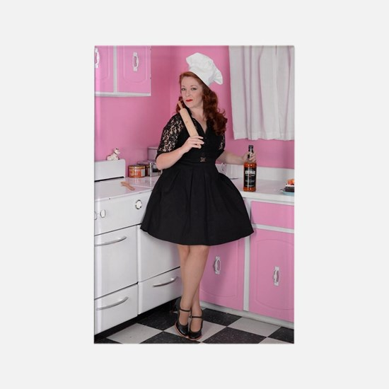Cute Pinup redhead Rectangle Magnet