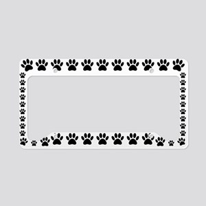 Black Dog Paw Print License Plate Holder