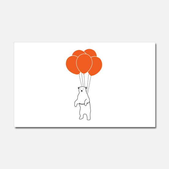 Flying Polar Bear with Birthday Balloons Car Magne