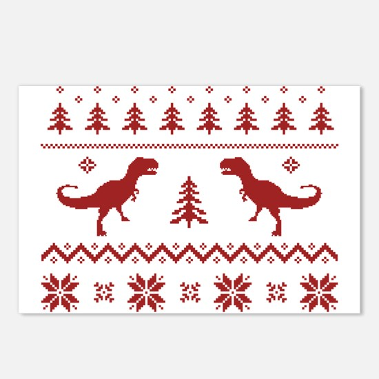 Ugly T-Rex Dinosaur Christmas Sweater Postcards (P