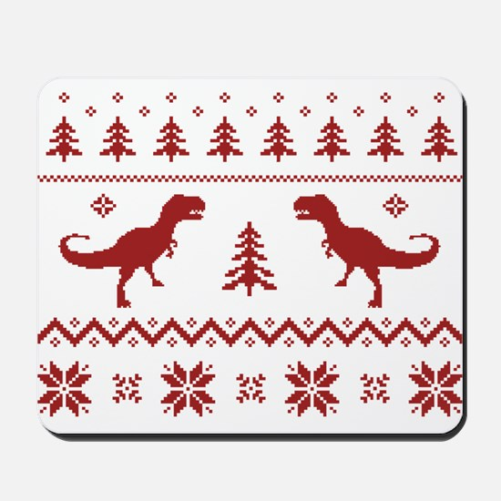 Ugly T-Rex Dinosaur Christmas Sweater Mousepad