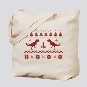 Ugly T-Rex Dinosaur Christmas Sweater Tote Bag