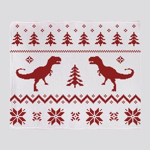Ugly T-Rex Dinosaur Christmas Sweater Throw Blanke