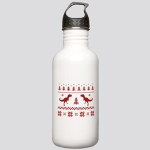 Ugly T-Rex Dinosaur Christmas Sweater Water Bottle