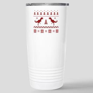 Ugly T-Rex Dinosaur Christmas Sweater Travel Mug
