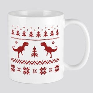 Ugly T-Rex Dinosaur Christmas Sweater Mugs