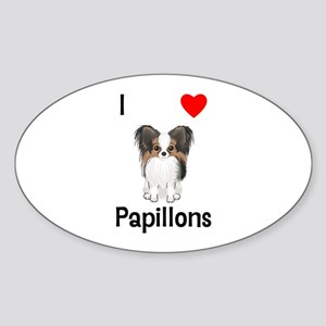 I Love Papillons (pic) Sticker (Oval)