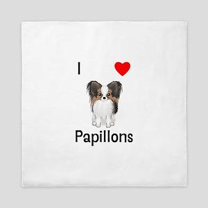 I Love Papillons (pic) Queen Duvet