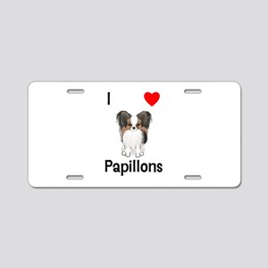 I Love Papillons (pic) Aluminum License Plate