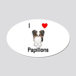 I Love Papillons (pic) 20x12 Oval Wall Decal