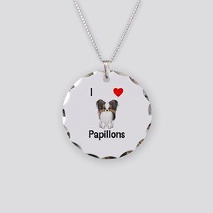 I Love Papillons (pic) Necklace Circle Charm