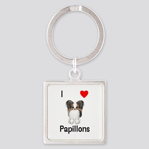 I Love Papillons (pic) Square Keychain
