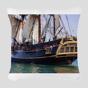 HMS Bounty Tall Ship Woven Throw Pillow