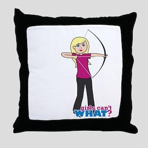 Archery Girl Light/Blonde Throw Pillow
