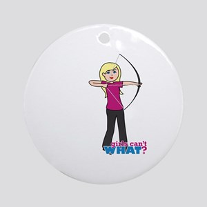 Archery Girl Light/Blonde Ornament (Round)