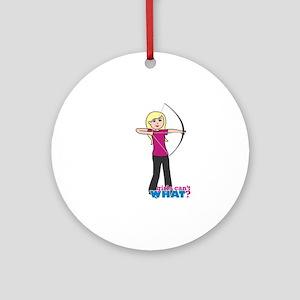 Archery Girl Light/Blonde Ornament (Round)