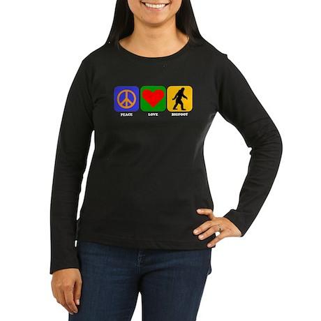 Peace Love Bigfoot Long Sleeve T-Shirt
