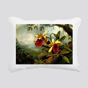 Orchids and Hummingbird, Rectangular Canvas Pillow