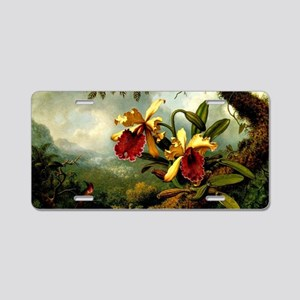 Orchids and Hummingbird, vi Aluminum License Plate