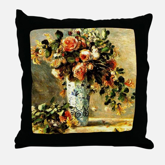 Roses and Jasmine in a Delft Vase, Re Throw Pillow