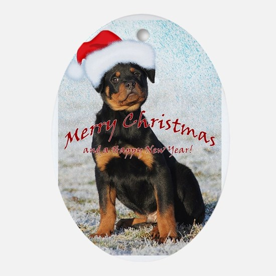 Merry Christmas puppy! Oval Ornament