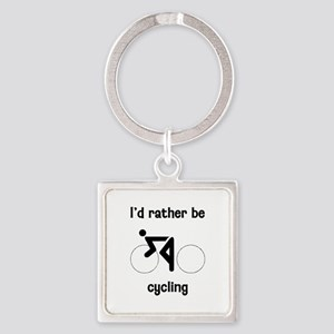I'd Rather Be Cycling Square Keychain