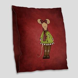 MERRY MOUSE Burlap Throw Pillow