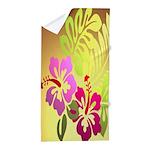 Tropical Flowers Gold Beach Towel