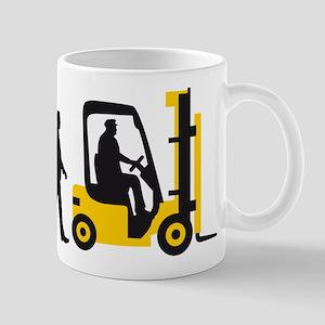 evolution of man forklift driver Mugs
