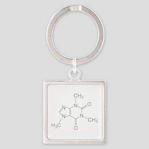 Caffeine Molecule Square Keychain