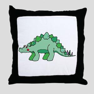 Cute Green Stegasaurus Dinosaur Throw Pillow