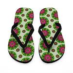 Green Retro Mandala Pattern Flip Flops