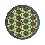 Green Retro Mandala Pattern Wall Clock