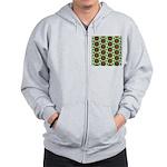 Green Retro Mandala Pattern Zip Hoodie