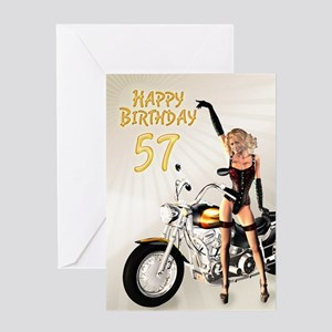57th Birthday card with a motorbike girl Greeting