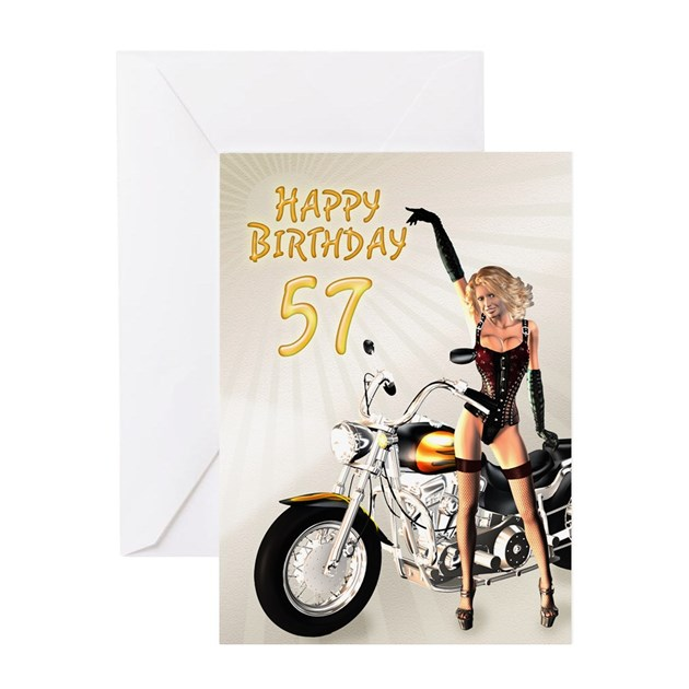 57th Birthday Card With A Motorbike Girl Greeting By Supercards