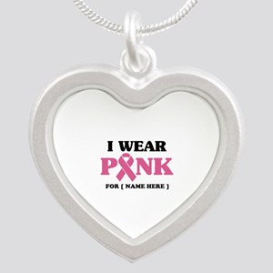 Breast Cancer Cause Silver Heart Necklace