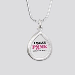 Breast Cancer Cause Silver Teardrop Necklace