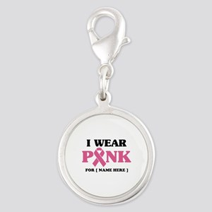 Breast Cancer Cause Silver Round Charm